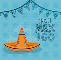 viaggiare in messico lettering con disegno vettoriale cappello sombrero