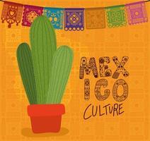 Lettering della cultura del Messico con disegno vettoriale di cactus