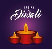 felice diwali candele su sfondo viola disegno vettoriale