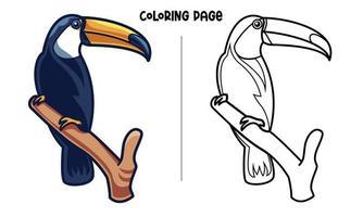 tucano uccello in piedi su un ramo da colorare pagina vettore