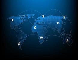 rete di icone di cambio valuta globale e illustrazione di trasferimento di denaro vettore