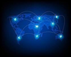 rete globale di cambio valuta, illustrazioni finanziarie e trasferimenti di denaro. vettore