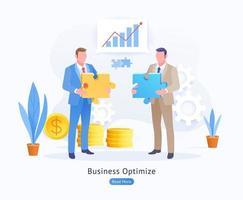 business ottimizzare sfondo concettuale. imprenditore tenendo jigsaw puzzle concettuale. vettore
