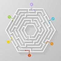 labirinto labirinto forma simbolo illustrazione vettoriale. vettore