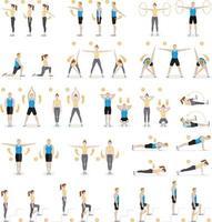 uomo e donna allenamento fitness, aerobica ed esercizi. illustrazioni vettoriali. vettore