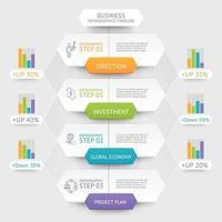 modello di infografica esagono aziendale. può essere utilizzato per il layout del flusso di lavoro, il diagramma, le opzioni di numero, il web design e la sequenza temporale. vettore