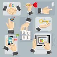 set di icone piane di mani di affari. illustrazione vettoriale. vettore