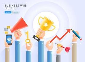 vittoria di affari concettuale. gruppo di mani di affari che tengono un trofeo, telefono cellulare, megafono, chiavi, freccette e matite. illustrazioni vettoriali. vettore