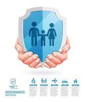 concetto di servizi assicurativi. due mani con illustrazioni vettoriali scudo.
