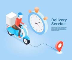 servizio di consegna con scooter. concetto isometrico. illustrazione vettoriale. vettore