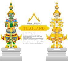 guardiano gigante thailandia viaggio e arte sfondo illustrazione vettoriale
