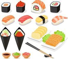 raccolta di sushi icone cibo asia. illustrazioni vettoriali. vettore