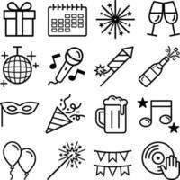 set di icone di partito. illustrazioni vettoriali. vettore