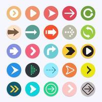 raccolta di simboli di colore delle icone della freccia. illustrazioni vettoriali. vettore