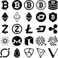 icone di criptovaluta. illustrazioni vettoriali. vettore