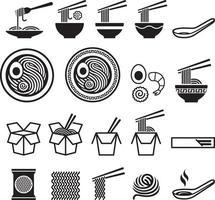 set di icone di noodle. illustrazioni vettoriali. vettore