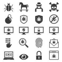 protezione antivirus set di icone di sicurezza del computer. illustrazioni vettoriali. vettore
