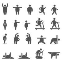 illustrazioni vettoriali di icone di esercizio aerobico.