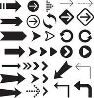 raccolta di simboli delle icone della freccia. vettore