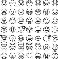 set di icone di simboli emoticon emoji. illustrazioni vettoriali