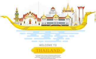 Thailandia punto di riferimento viaggio sfondo illustrazione vettoriale