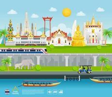 Thailandia monumenti famosi banner di viaggio bei posti sfondo stile piatto. vettore