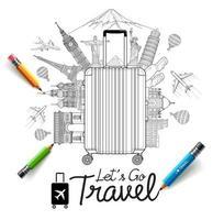 turismo e viaggi doodles illustrazioni vettoriali in stile arte.