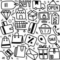 set di elementi doodle relativi al commercio elettronico e allo shopping online vettore