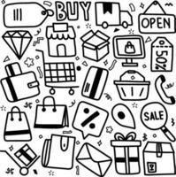 set di illustrazione vettoriale disegnato a mano del segno dello shopping online