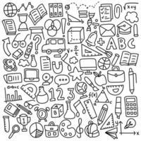insieme disegnato a mano divertente delle icone della scuola vettore