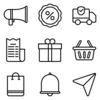set di icone di e-commerce muta vettore
