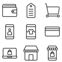 icon pack del negozio online vettore