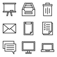 set di icone di forniture per ufficio vettore