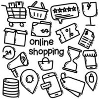 shopping online doodle icon pack vettore