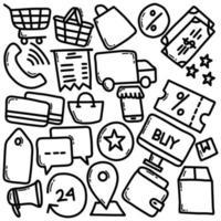 icone di commercio elettronico disegnate a mano vettore