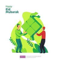 felice eid mubarak o saluto di ramadan con carattere di persone. concetto di illustrazione di design islamico per modello per pagina di destinazione web, social, poster, pubblicità, promozione, supporti di stampa, banner o presentazione vettore
