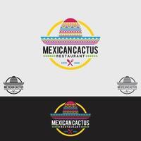 modello di progettazione logo cactus messicano vettore