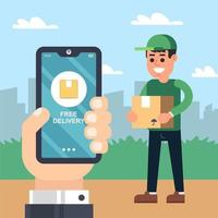 servizio di consegna tramite corriere. mano con il telefono. monitoraggio delle merci nell'applicazione. illustrazione vettoriale piatta.