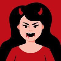 ragazza diavolo con le corna e i denti affilati con il sangue vicino alla bocca. illustrazione vettoriale di carattere piatto.