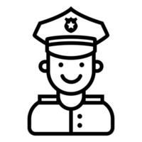icona di un agente di polizia sorridente su uno sfondo bianco. illustrazione vettoriale piatta