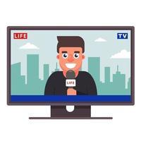 un corrispondente televisivo sta dando la notizia. giornalista gioioso. illustrazione vettoriale piatta