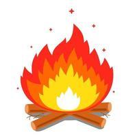 falò con una grande fiamma e legna da ardere su uno sfondo bianco. illustrazione vettoriale piatta