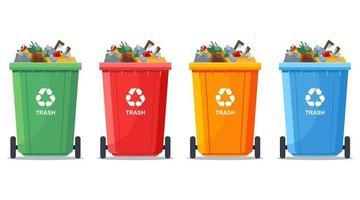i bidoni della spazzatura multicolori sono pieni. illustrazione vettoriale piatta.