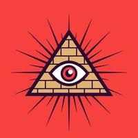segno massonico su uno sfondo rosso. piramide con un occhio. illustrazione vettoriale piatta.