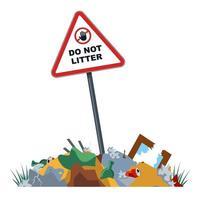 discariche non autorizzate nella zona proibita. inquinamento ambientale. discariche cittadine in luoghi proibiti. illustrazione vettoriale piatta.