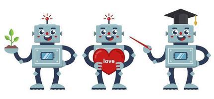 set di robot positivi. un insegnante di robot, un robot nerd e un robot con un grande cuore. illustrazione di caratteri vettoriali piatto.