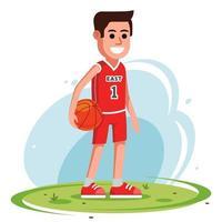giocatore di basket sta con la palla sul prato. simpatico personaggio. illustrazione vettoriale piatta.