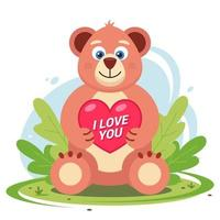 un orsacchiotto di peluche con un cuore tra le zampe siede in una radura tra l'erba. illustrazione vettoriale di carattere piatto.