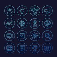 icone di avvio, processo creativo, idea, capitale iniziale, e-commerce, linea vector.eps vettore