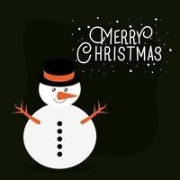 buon natale pupazzo di neve disegno vettoriale
